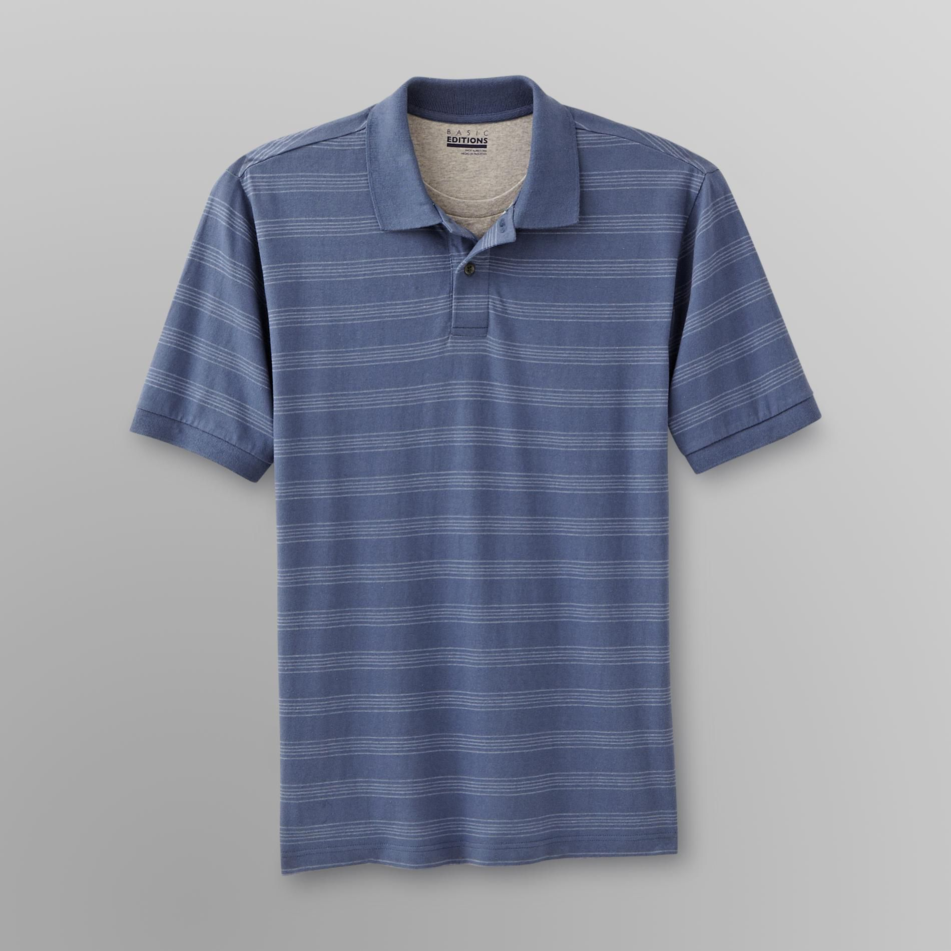 Basic Editions Men's Polo Shirt with Inset - Striped at Kmart.com