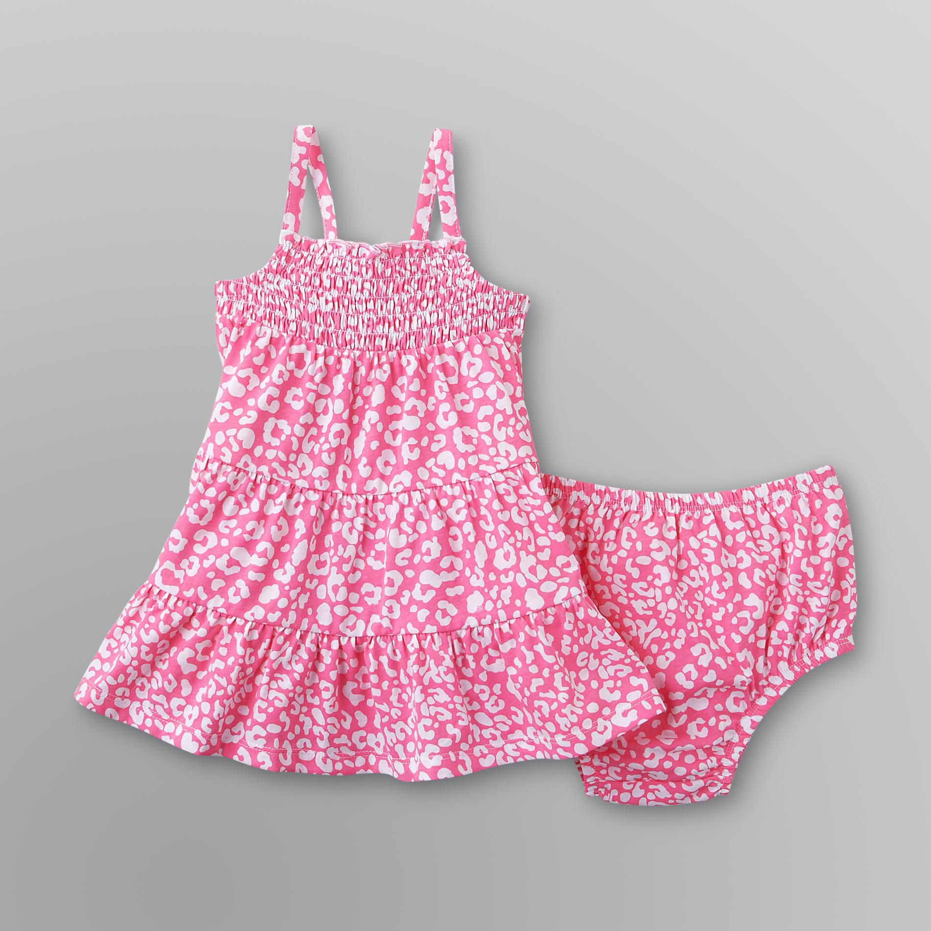 Infant Girl's Dress & Diaper Cover - Leopard Print