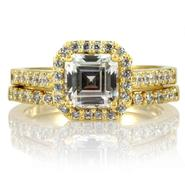 Emitations Devon's 1.5 CT Asscher Cut CZ Wedding Ring Set - Gold at Sears.com