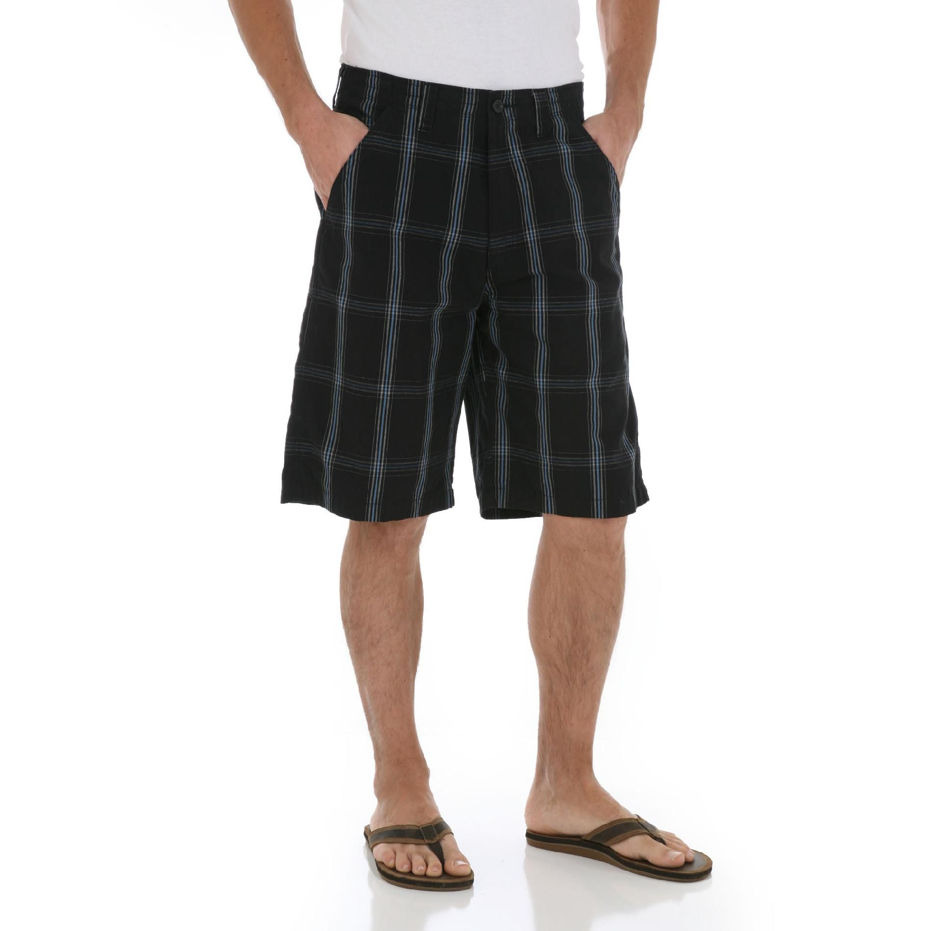 Wrangler Men's Flat Front Plaid Shorts at Kmart.com