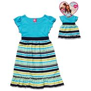What A Doll Girl's Short Sleeve Striped Babydoll Dress with Matching Doll Outfit at Kmart.com