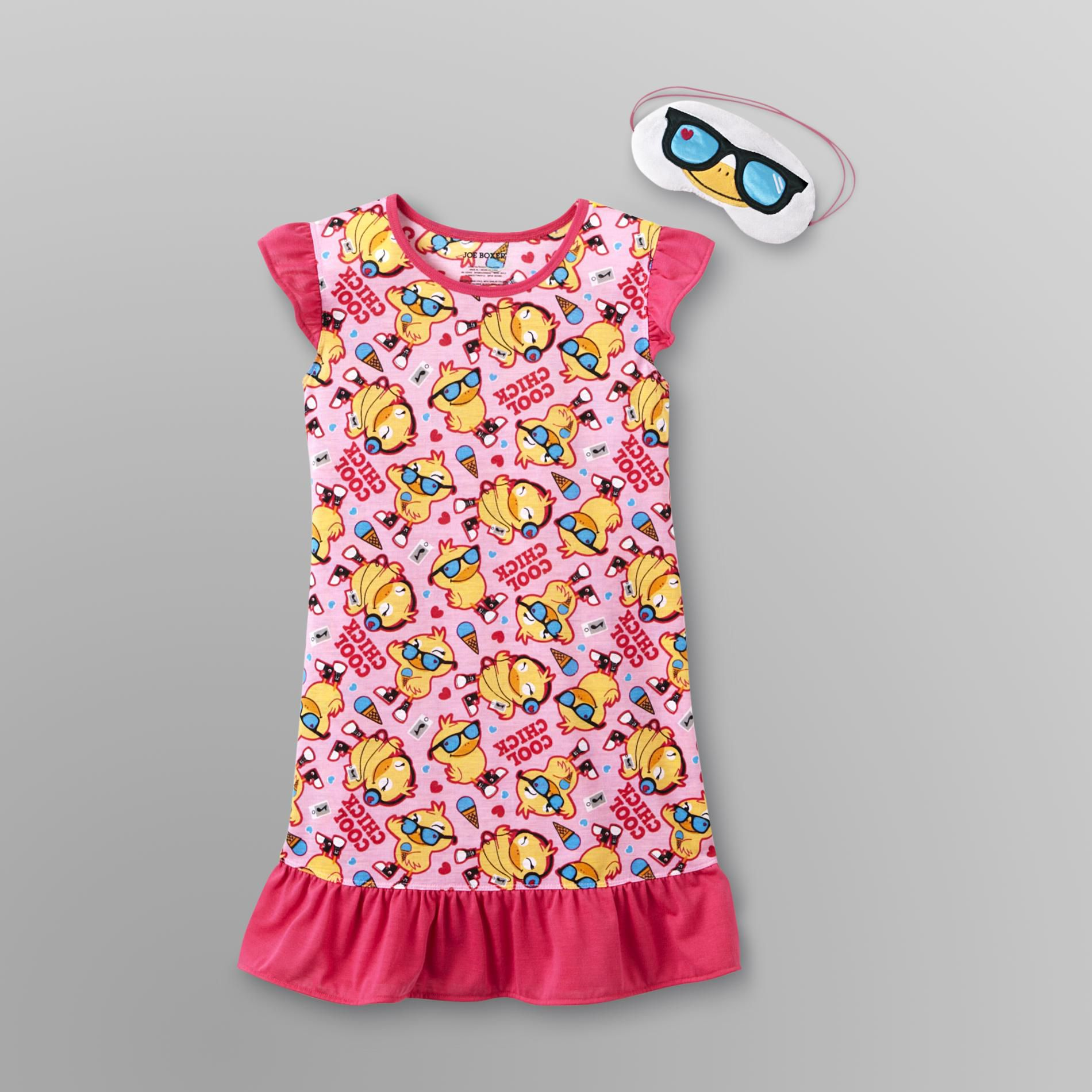 Joe Boxer Girl's Ruffle Nightgown & Sleep Mask - Cool Chick