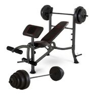 Marcy Weight Bench with Heavy Plates Bulk Up Bundle  ...