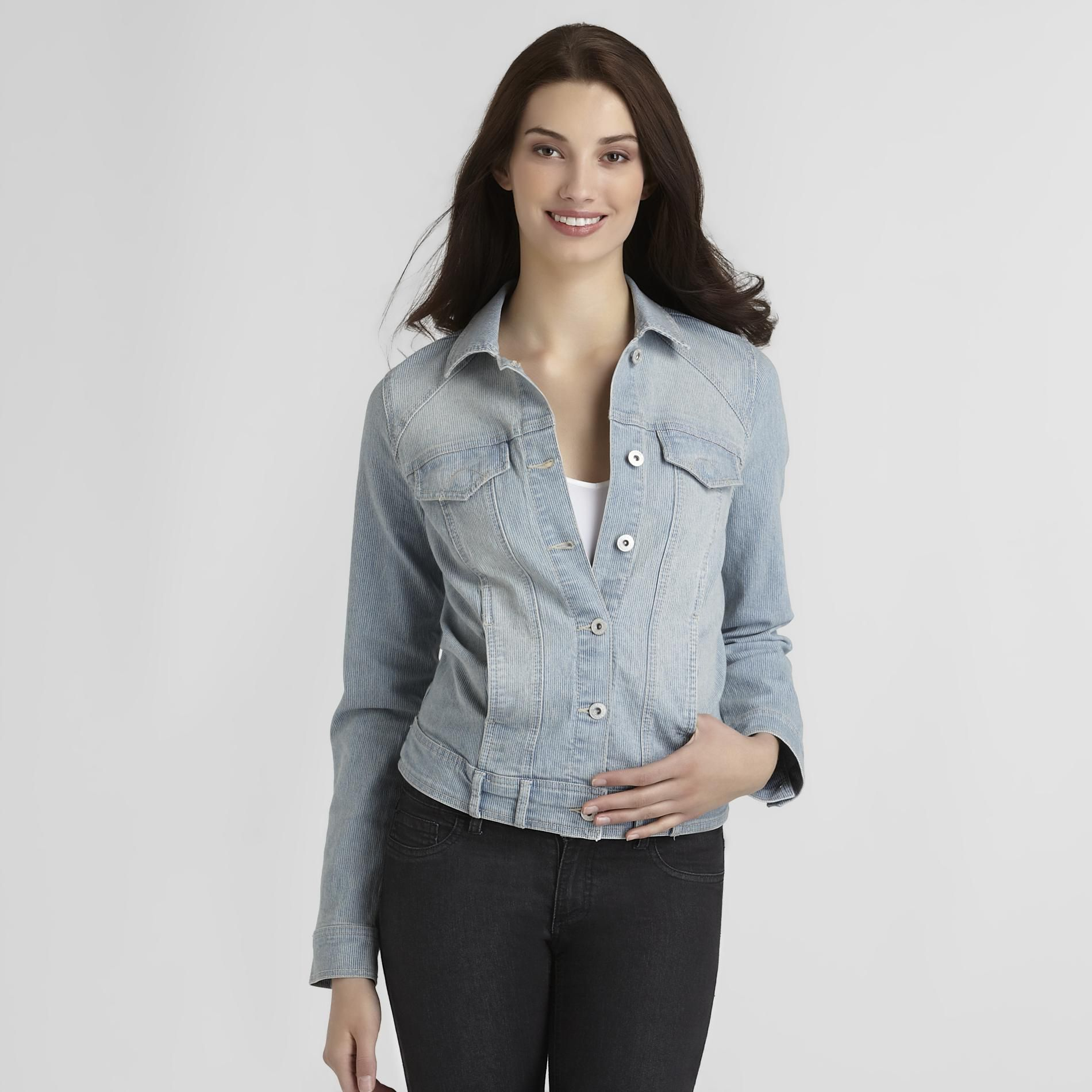 Gloria Vanderbilt Women's Melanie Denim Jacket - Ticking Stripe at Sears.com