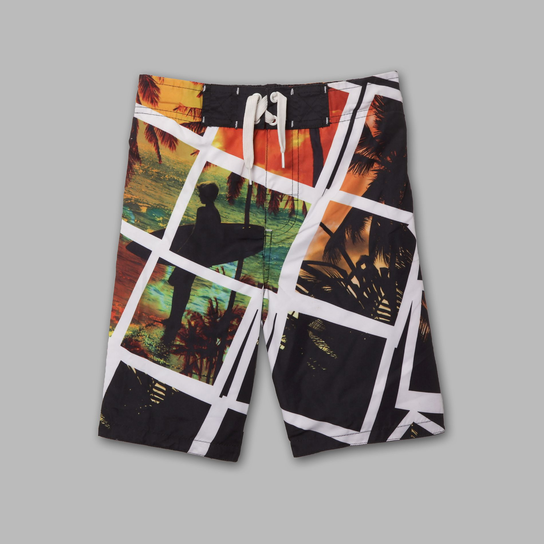 Boy's Photorealistic Surf Print Swim Trunks