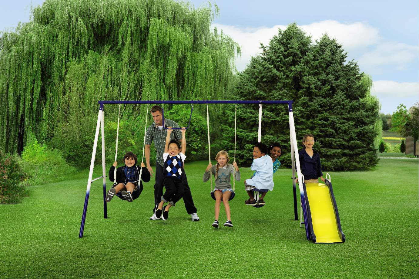 4 Leg Metal Swing Set Classic Year Round Fun For Ages 3 8 From Kmart