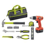 Homeowner Essentials Tool Set with Cordless Drill Bun...