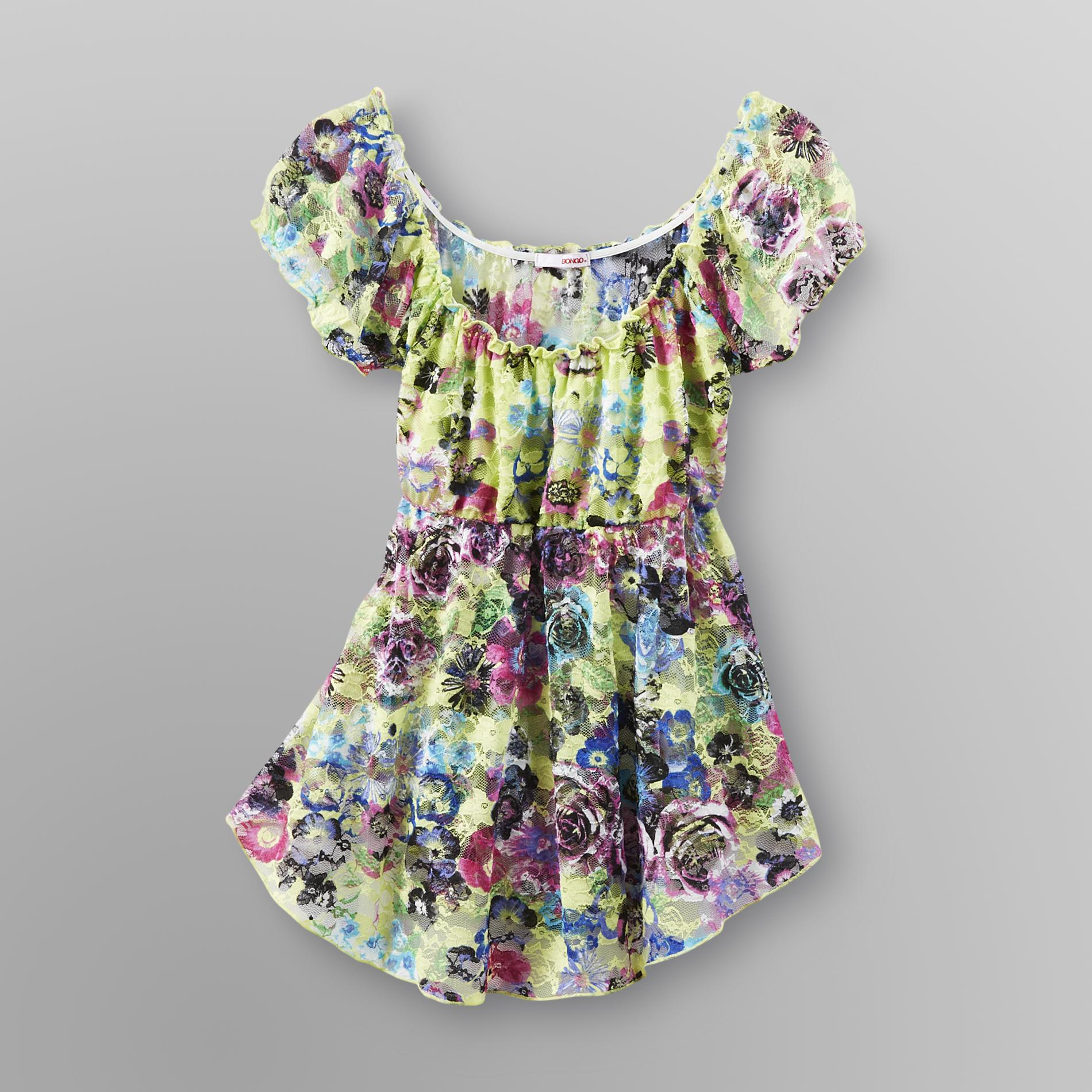 Bongo  Junior's Lace Babydoll Top - Floral