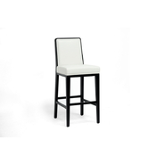 Baxton Theia Black Wood and Cream Leather Modern Bar Stool at Sears.com