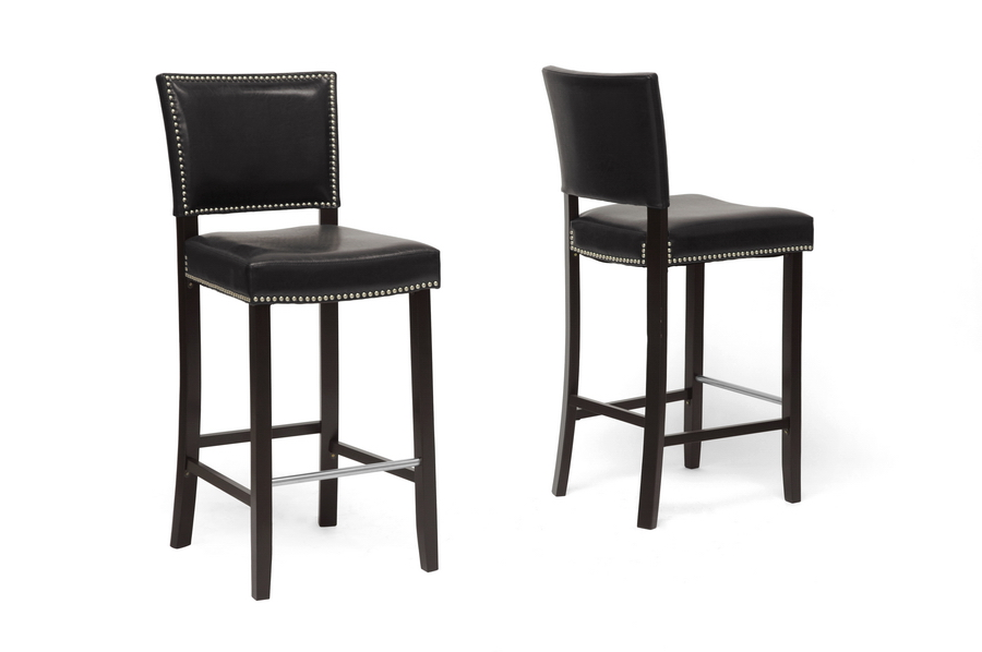 Aries Black Modern Bar Stool with Nail Head