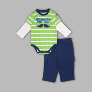 Small Wonders Infant Boy's 'Little Man' Stripe 2-Fer Bodysuit & Pants Set at Kmart.com
