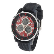 Sharp Mens' Round Black Case and Band with Red Face Multi Dial Watch at Kmart.com