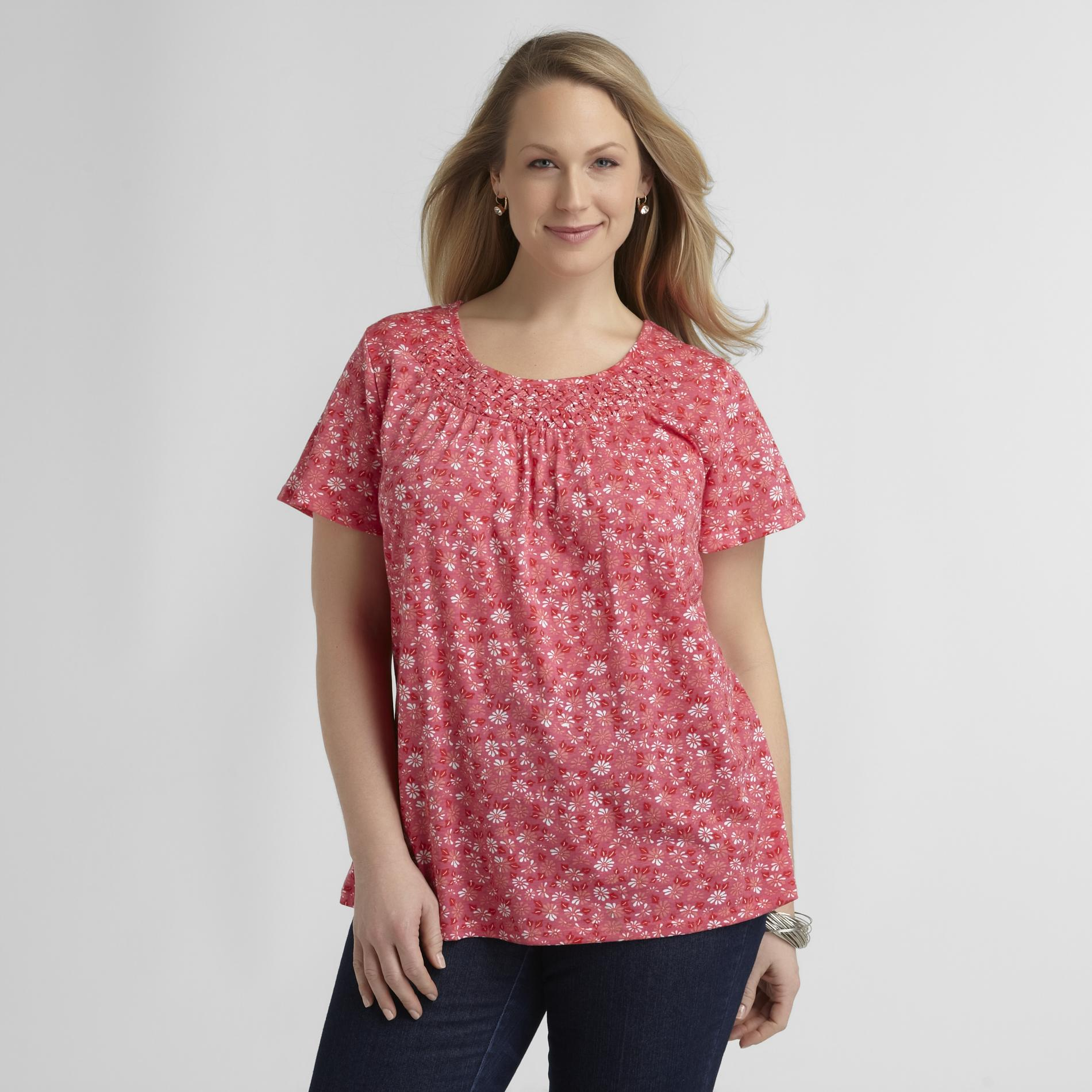 Basic Editions Women's Lattice-Neck Top at Kmart.com