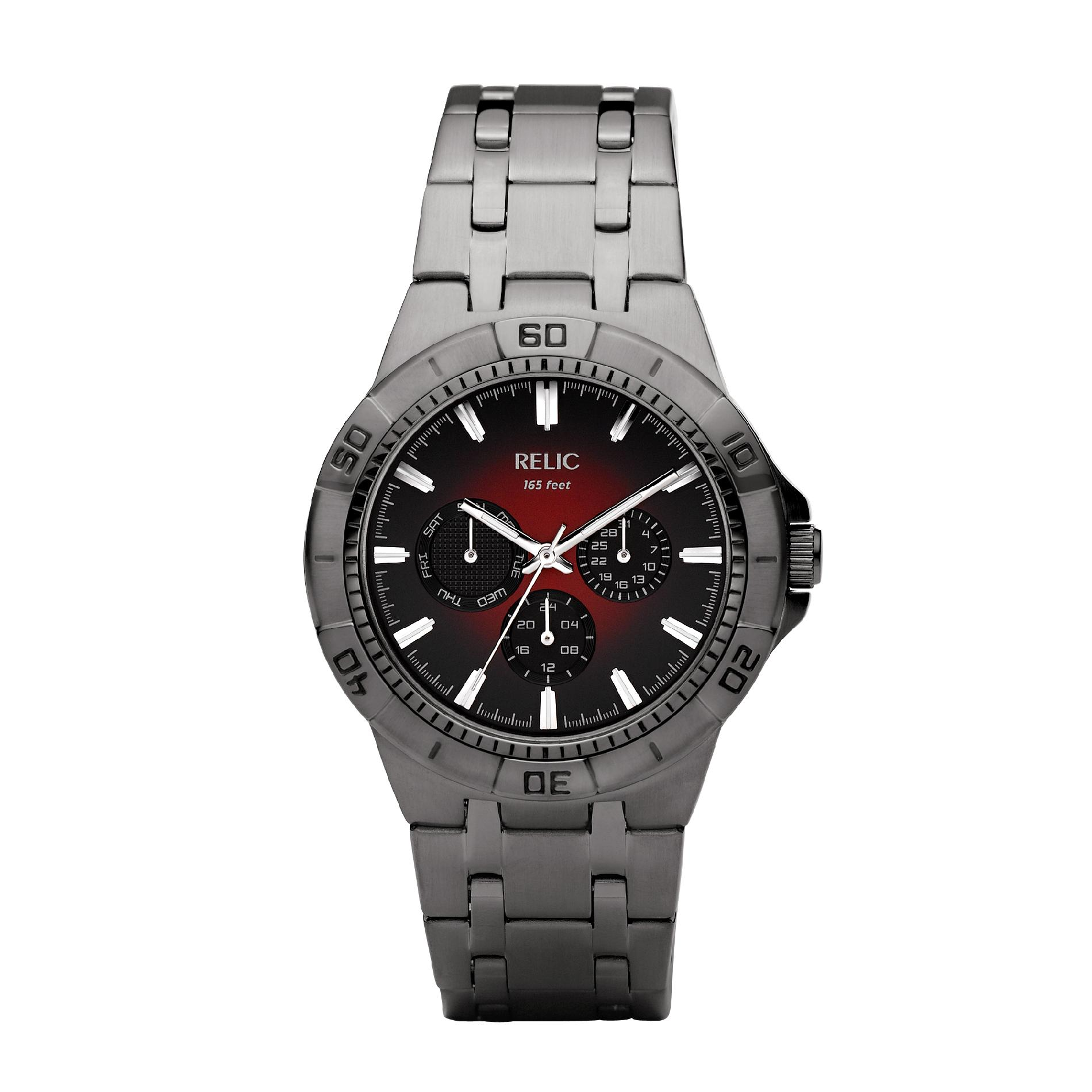 Relic Men's Chronograph Gunmetal Bracelet Watch with Black and Red Multi-Dial PartNumber: 04415313000P KsnValue: 04415313000 MfgPartNumber: ZR15514