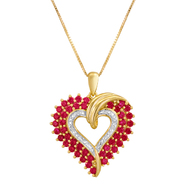 Lab Created Ruby and Diamond Heart Pendant at Sears.com