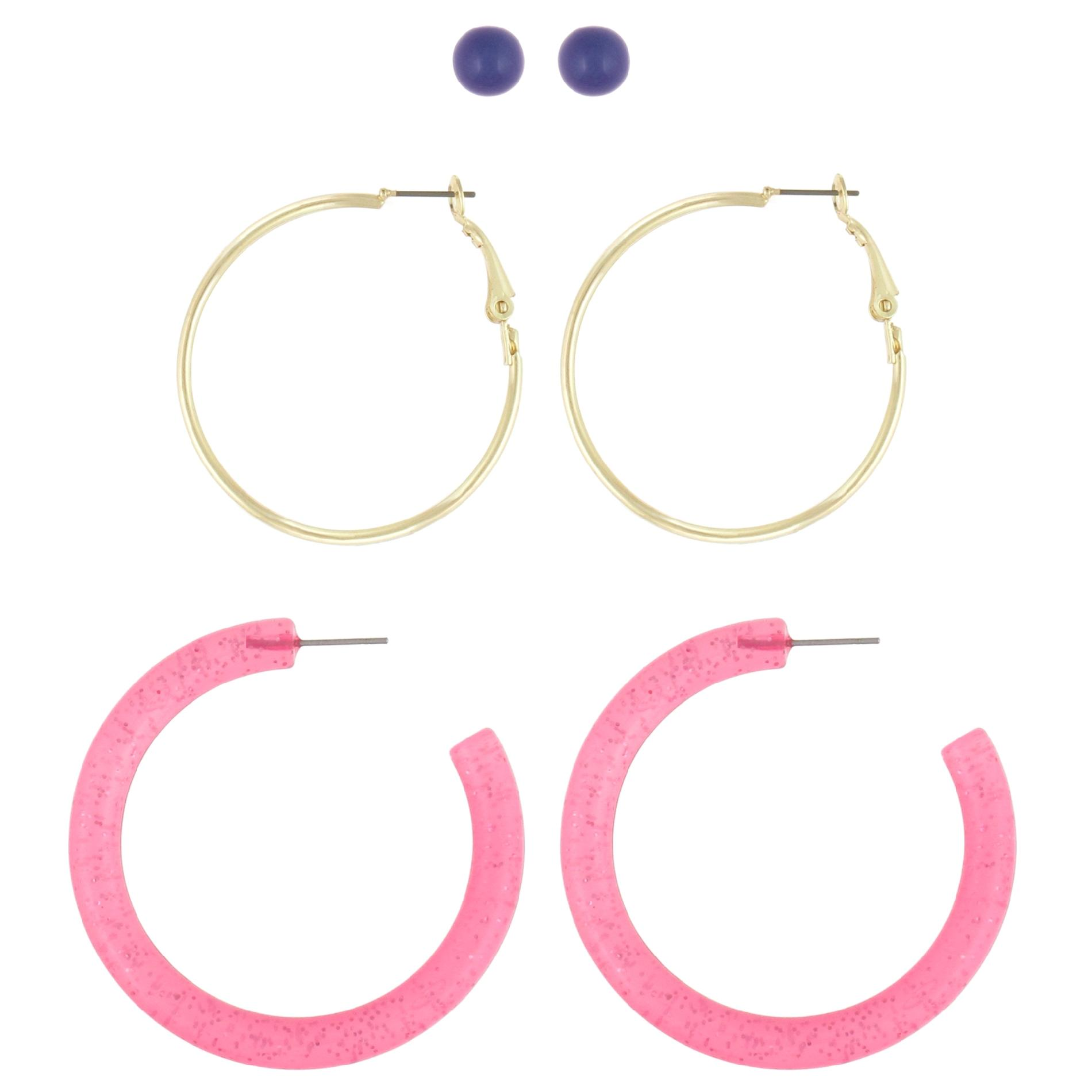 Dream Out Loud by Selena Gomez Juniors' 3 Pair Stud and Hoop Combo Earrings