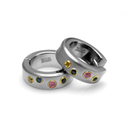 Sti by Spectore Gray Titanium Huggy Earring with Groove and Multi-Colored Sapphires at Sears.com