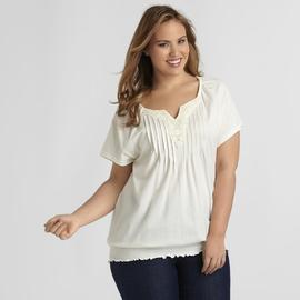 Basic Editions Women's Plus Peasant Blouse at Kmart.com