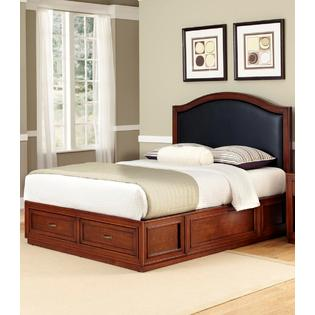 Home Styles Duet Platform Queen Camelback Bed Black Leather Inset
