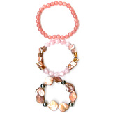 Jaclyn Smith 3 Pc Multi Bead Stretch Bracelet Set at mygofer.com