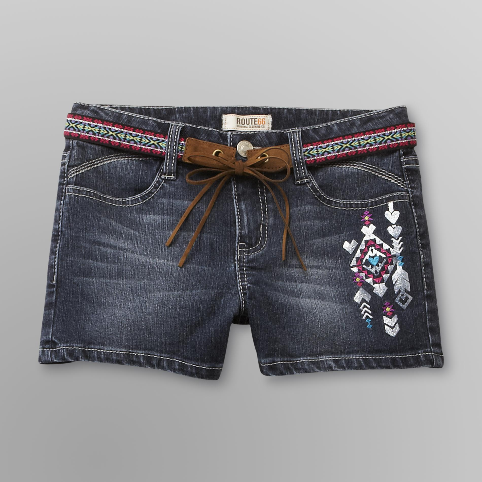 Girl's Belted Embroidered Denim Shorts
