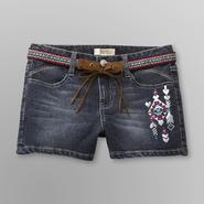 Route 66 Girl's Belted Embroidered Denim Shorts at Kmart.com