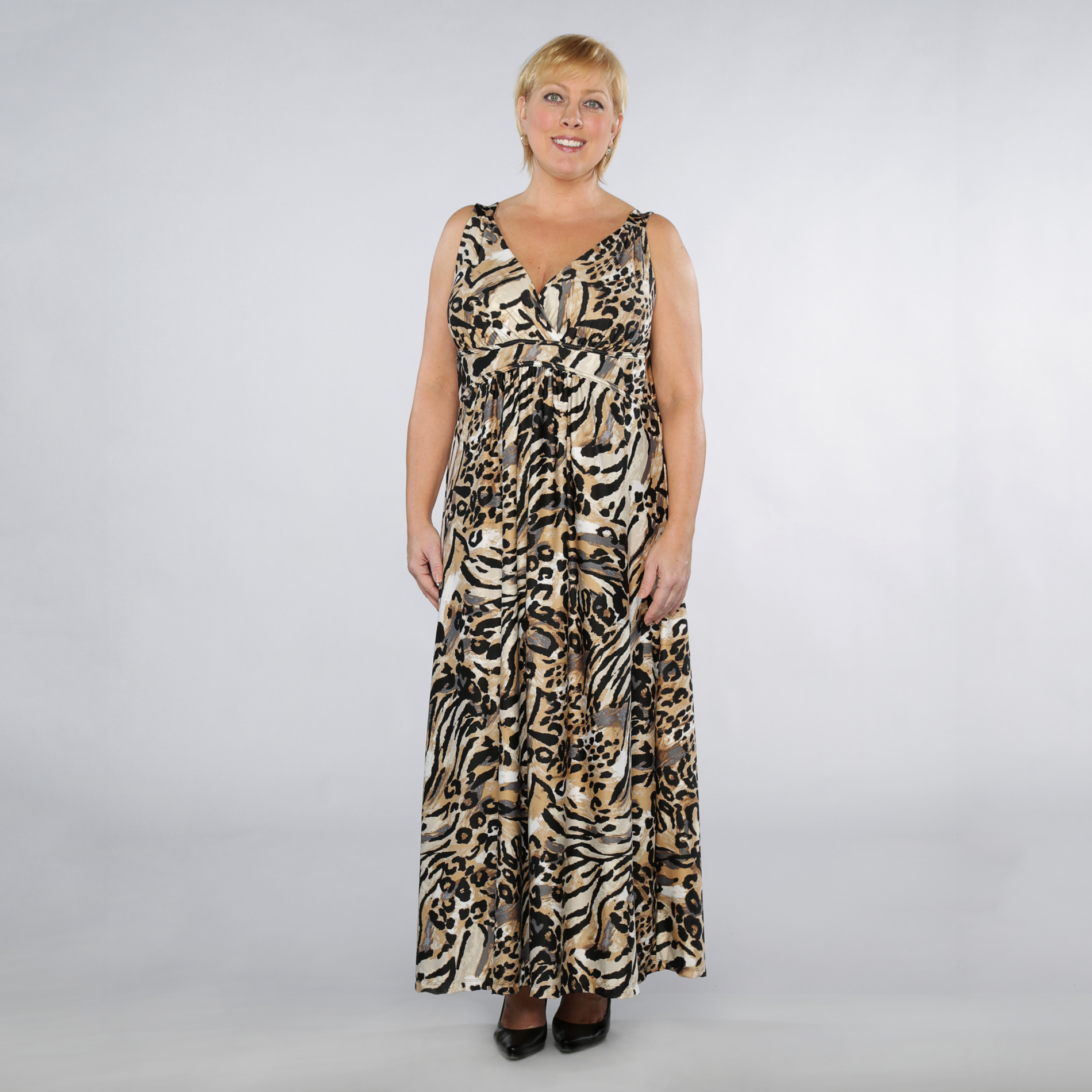 Jaclyn Smith Women's Plus Cross Front Animal Print Maxi Dress