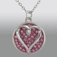 Sterling Silver Heart Charm with Round Pink Crystal Pendant at Sears.com