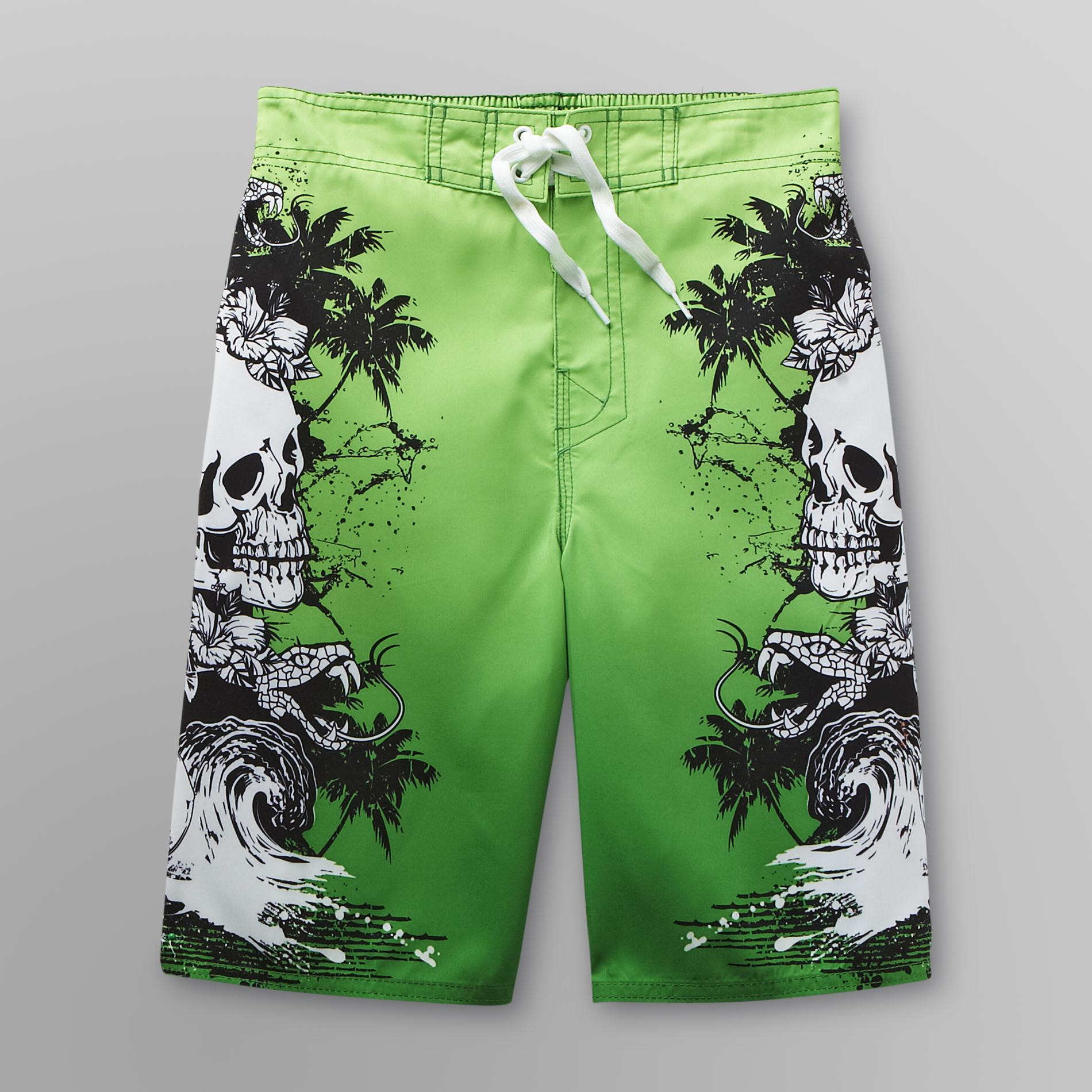 Boy's Swim Trunks - Skulls & Snakes
