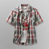 Route 66 Boy's Plaid Camp Shirt & Graphic T-Shirt - Beach at mygofer.com