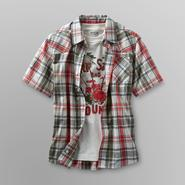Route 66 Boy's Plaid Camp Shirt & Graphic T-Shirt - Beach at Kmart.com