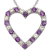 Sterling Silver Amethyst and CZ Heart Pendant at Kmart.com