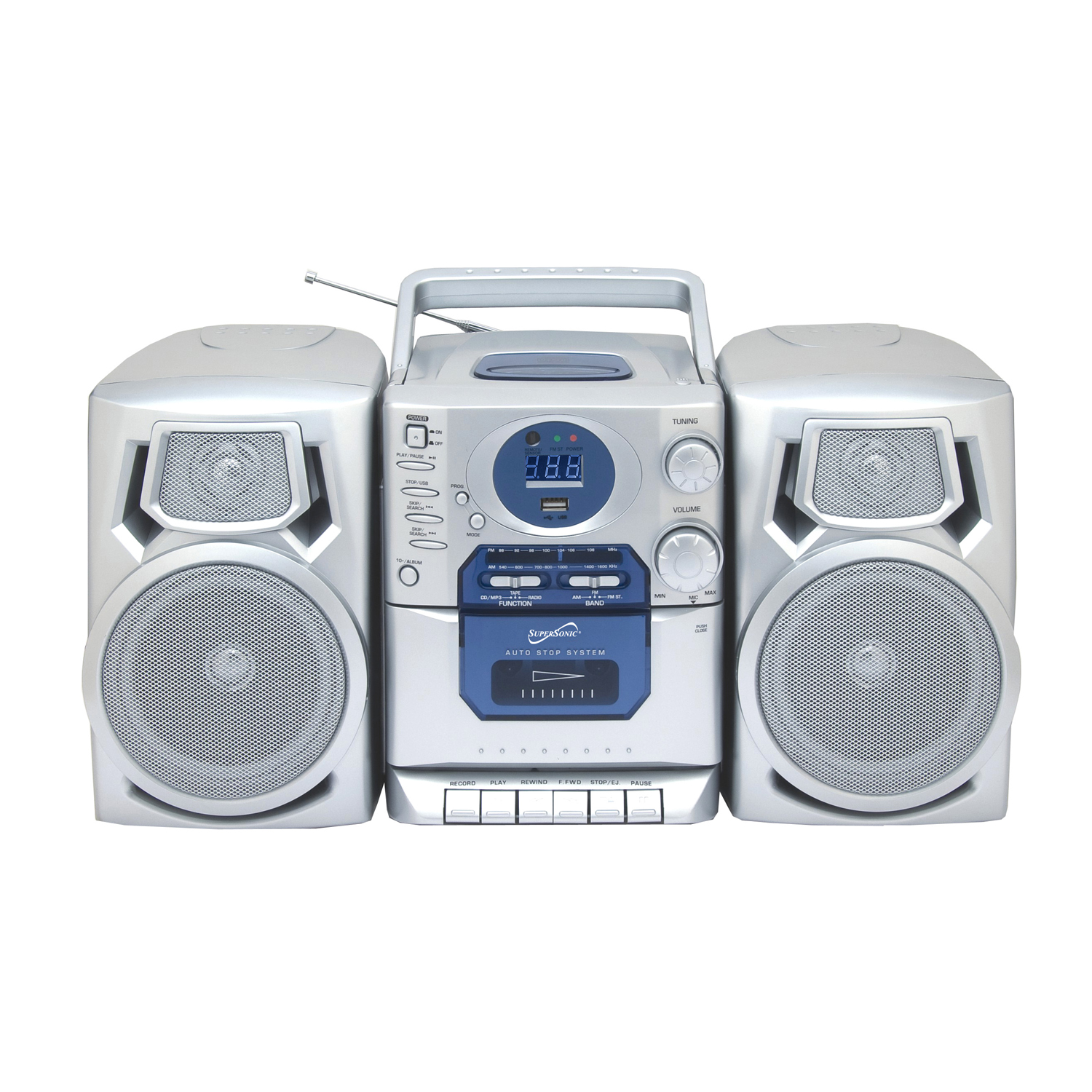 Supersonic SC-803 Portable MP3/CD Player with Cassette Recorder, AM/FM Radio & USB Input