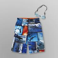 Joe Boxer Boy's Board Shorts & Goggles - Sharks at Kmart.com