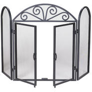 UniFlame 3 Fold Black Wrought Iron Screen with Scrolls at Kmart.com