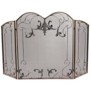 UniFlame 3 Fold Venetian Bronze Screen with Leaf Scrolls