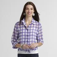 Canyon River Blues Women's Tie-Front Blouse - Gingham at Kmart.com