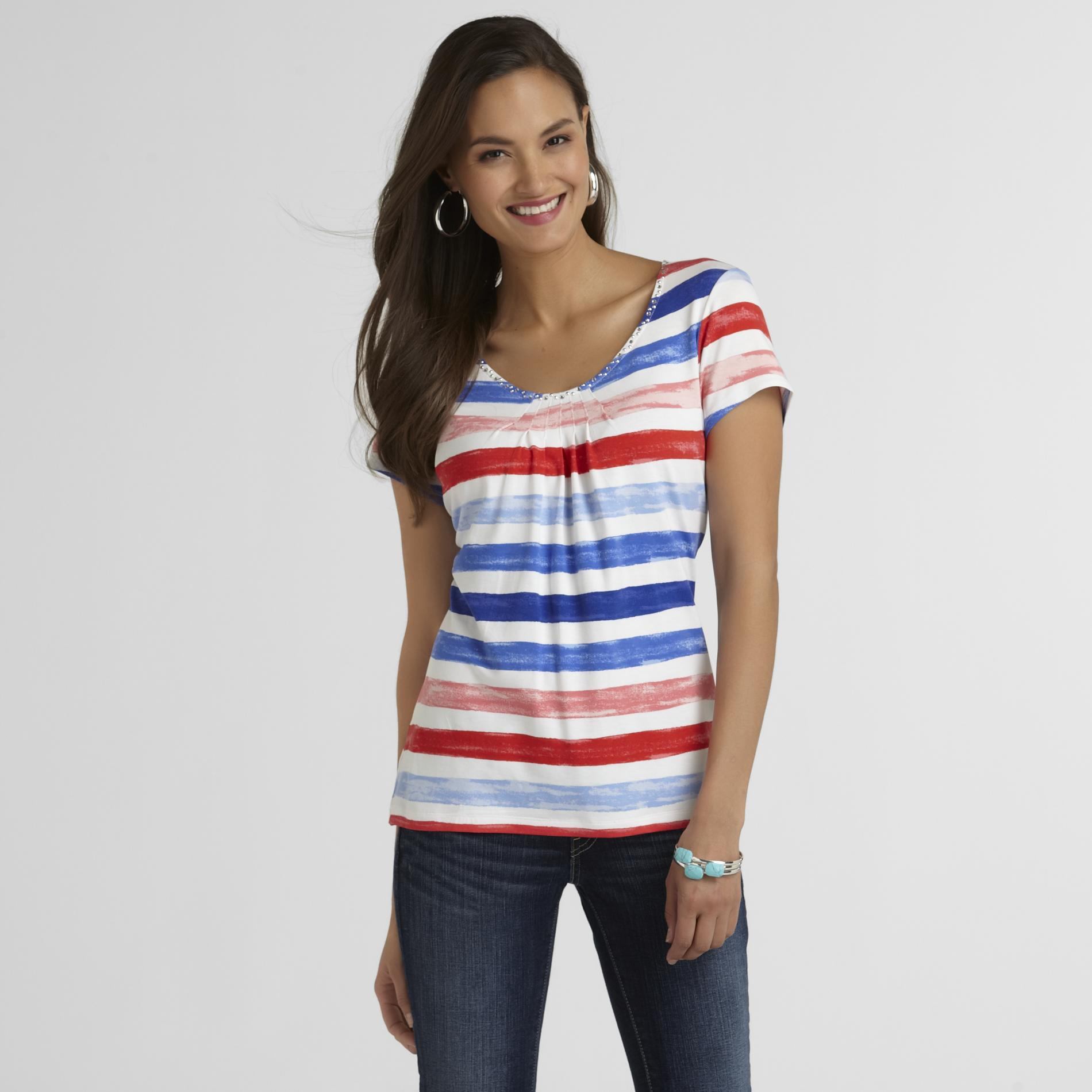 Sapphire Star Women's Embellished Top - Striped at Sears.com