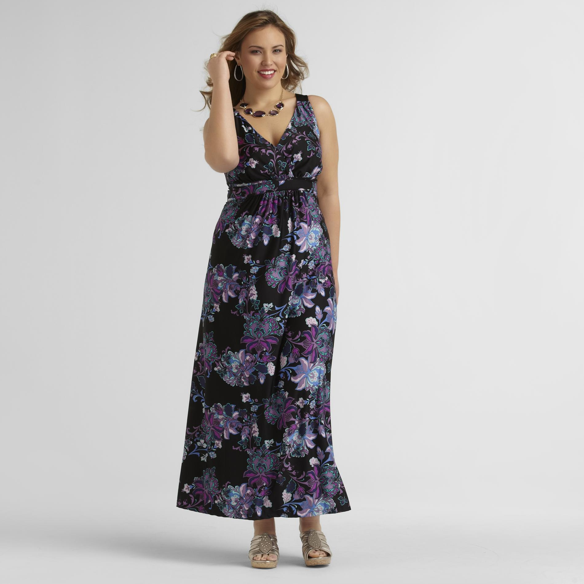 Jaclyn Smith Women's Plus Empire Waist Maxi Dress