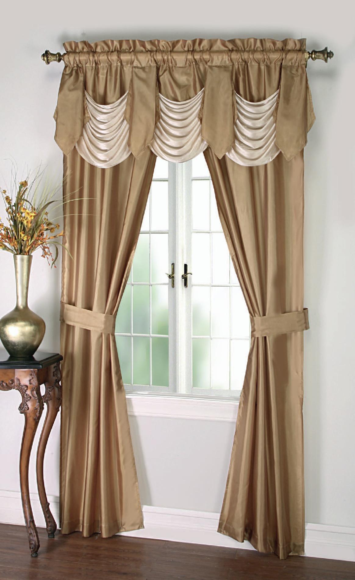 Cannon 5-Piece Curtain Panels, Valance & Tiebacks - Bellany