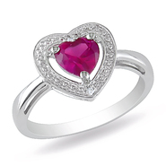 Amour 0.01 Carat T.W. Diamond and 1 Carat T.G.W. Created Ruby Heart Ring in Sterling Silver I3 at Kmart.com