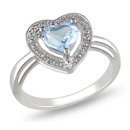 Amour 0.01 Carat T.W. Diamond and 1 Carat T.G.W. Blue Topaz Heart Ring in Sterling Silver GH I3 at Kmart.com