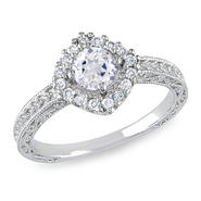 Amour 1/5 Carat T.W. Diamond and 5/8 Carat T.G.W. Created White Sapphire Fashion Ring in Sterling Silver GH I3 at Kmart.com