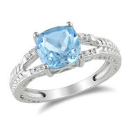 Amour 0.04 Carat T.W. Diamond and 2 1/2 Carat T.G.W. Blue Topaz Fashion Ring in Sterling Silver I3 at Kmart.com
