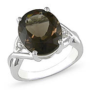 Amour 0.01 Carat T.W. Diamond and 3 3/4 Carat T.G.W. Smokey Quartz Fashion Ring in Sterling Silver I3 at Sears.com