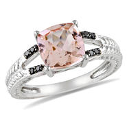 Amour 0.04 Carat Black T.W. Diamond and 2 1/10 Carat T.G.W. Morganite Fashion Ring in Sterling Silver Black Plated at Sears.com