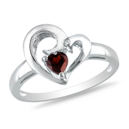 Amour 0.01 Carat T.W. Diamond and 1/3 Carat T.G.W. Garnet Heart Ring in Sterling Silver GH I3 at Kmart.com