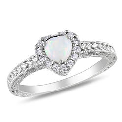 Amour 1/7 Carat T.W. Diamond and 1/3 Carat T.G.W. Opal Fashion Ring in Sterling Silver GH I3 at Kmart.com