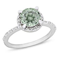 Amour 0.05 Carat T.W. Diamond and 1 1/6 Carat T.G.W. Green Amethyst Fashion Ring in Sterling Silver GH I3 at Kmart.com