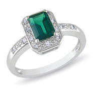 Amour 0.06 Carat T.W. Diamond and 7/8 Carat T.G.W. Created Emerald Fashion Ring in Sterling Silver I3 at Sears.com